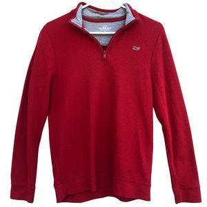 Vineyard Vines Fine Knit 1/4 Zip Pullover Red